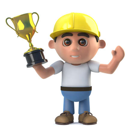 3d render of a construction worker holding a gold cup trophy award.