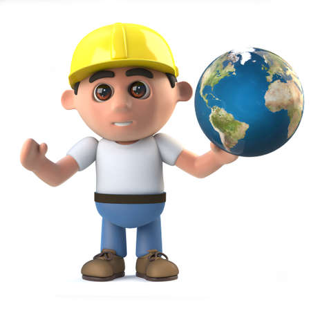 labourer: 3d render of a construction worker holding a globe of the Earth Stock Photo