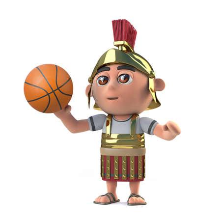 mercenary: 3d render of a Roman soldier playing basketball