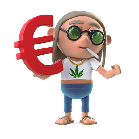 stoned: 3d render of a stoner hippie holding a Euro currency symbol