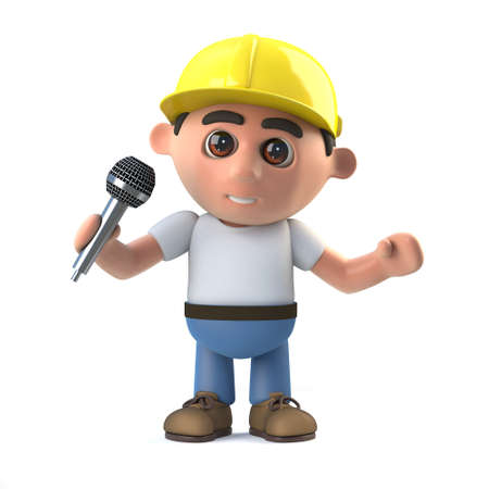 labourers: 3d render of a construction worker singing into a microphone. Stock Photo