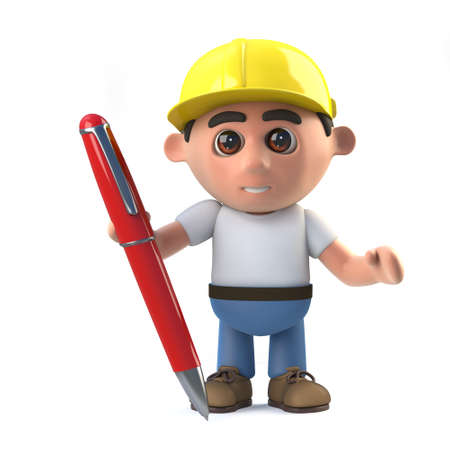 labourers: 3d render of a construction worker with a pen