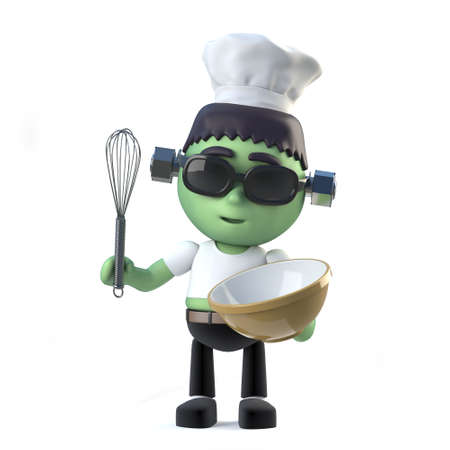 3d render of a cute frankenstein wearing a chefs hat and holding a whisk and mixing bowl.