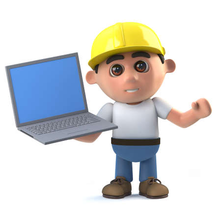 3d render of a construction worker holding a laptop pc device.