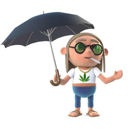 stoned: 3d render of a stoner hippie under an umbrella