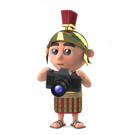 roman empire: 3d render of a Roman soldier holding a camera