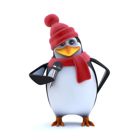3d render of a penguin dressed in winter woolens singing into a microphone Stock Photo