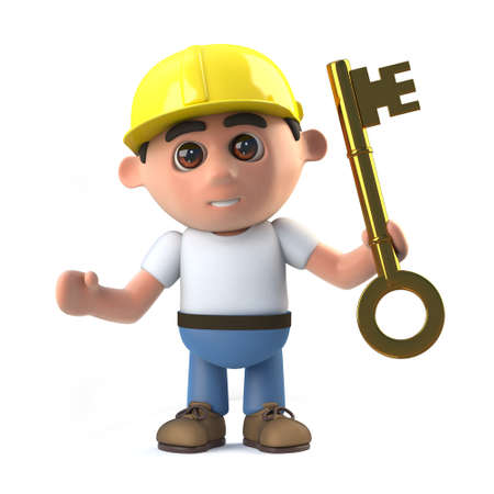 gold key: 3d render of a construction worker holding a gold key.