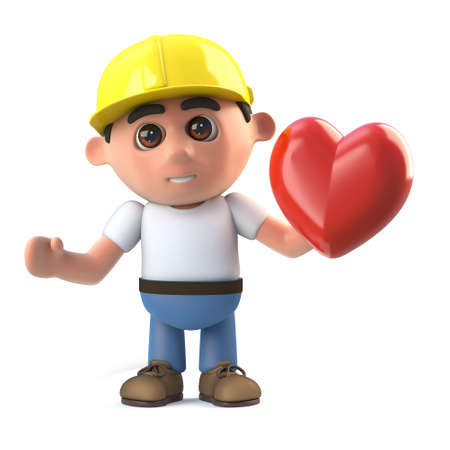 3d render of a construction worker holding a heart symbol Stock Photo