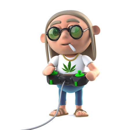 stoned: 3d render of a stoner hippie playing a video game