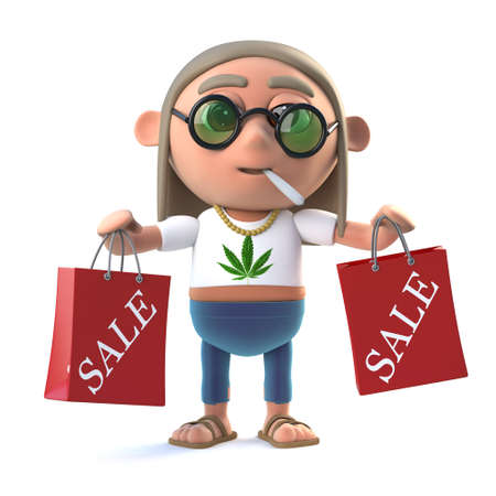 stoned: 3d render of a hippie stoner holding some shopping bags with Sale written on them Stock Photo