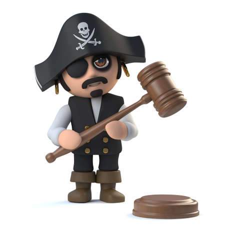 cutlass: 3d render of a cute pirate captain character holding an auctioneers gavel. Stock Photo