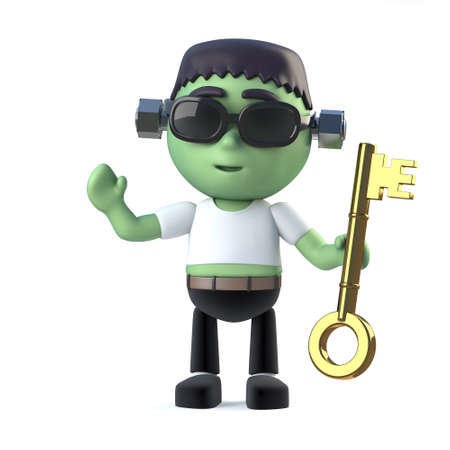 gold key: 3d render of a cute Frankenstein holding a gold key Stock Photo