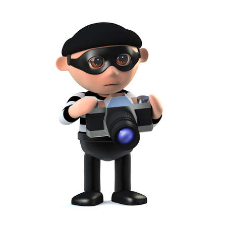 3d render of a burglar character using an SLR camera. Stock Photo