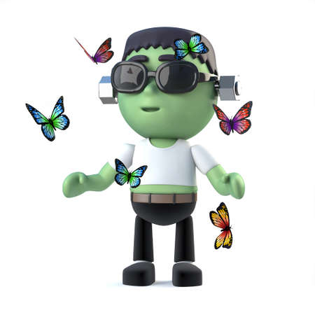 3d render of a cute frankenstein monster surrounded by butterflies