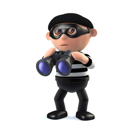 3d render of a burglar character with a pair of binoculars. Stock Photo