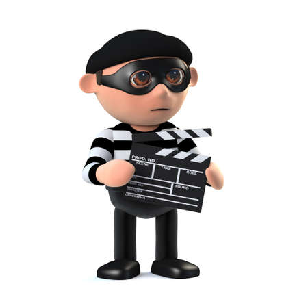 dishonest: 3d render of a burglar holding a movie makers clipboard.