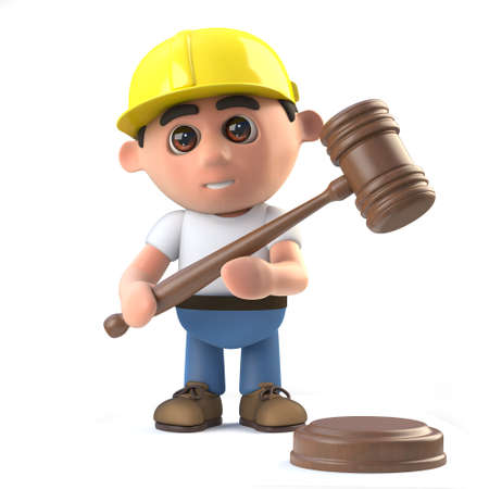 3d render of a construction worker character holding an auctioneers gavel. Stock Photo
