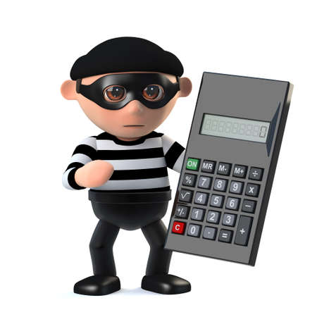 prowler: 3d render of a burglar character with a calculator.
