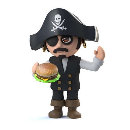cheese burger: 3d render of a cute pirate captain character eating a cheese burger