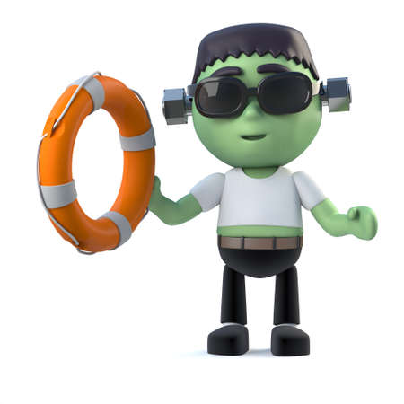 life ring: 3d render of a cute frankenstein monster holding a life ring buoyancy aid Stock Photo