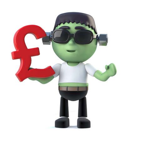 3d render of a cute kid frankenstein monster holding a UK Pounds Sterling currency symbol.