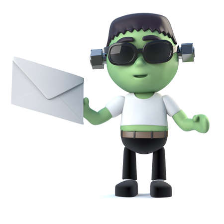 monster movie: 3d render of a cute frankenstein monster holding an envelope Stock Photo