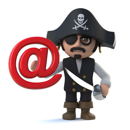 costume eye patch: 3d render of a cute pirate captain holding an email address symbol.