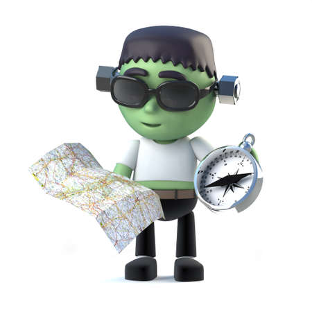 monster movie: 3d render of a cute frankenstein monster holding a map and compass Stock Photo