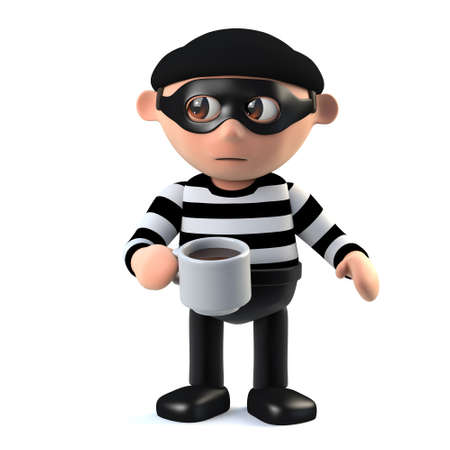 crook: 3d render of a burglar holding a mug of coffee