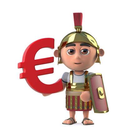 3d render of a cute Roman Centurion holding a Euro currency symbol.