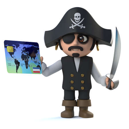 debit: 3d render of a cute pirate captain holding a debit card.