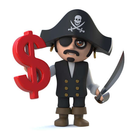 costume eye patch: 3d render of a pirate captain holding a US Dollar currency symbol.