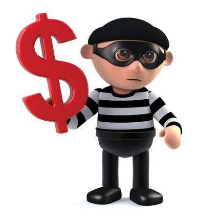 burglar: 3d render of a burglar holding a US Dollar symbol. Stock Photo