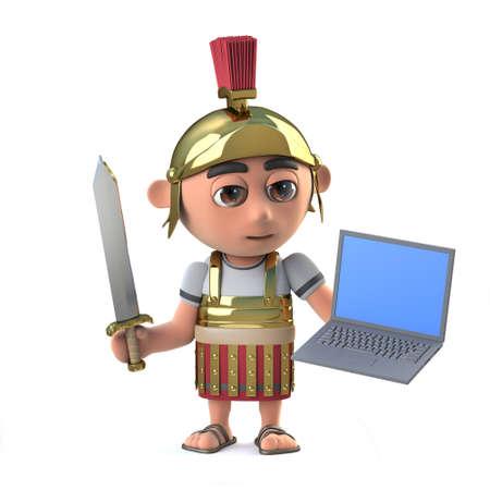 mercenary: 3d render of a Roman centurion soldier holding a laptop computer device Stock Photo