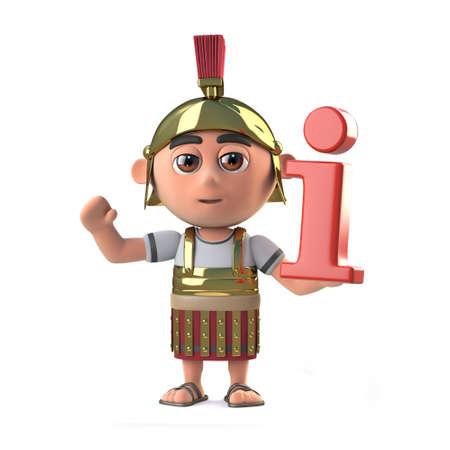 roman empire: 3d render of a Roman centurion soldier holding an information symbol.