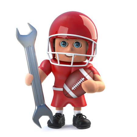 3d render of an American football player holding a spanner.