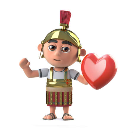 3d render of a Roman centurion soldier holding a red heart
