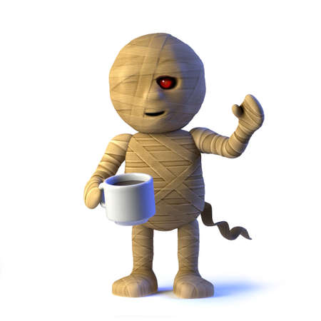 egyptian mummy: 3d render of an Egyptian mummy monster holding a mug of coffee.
