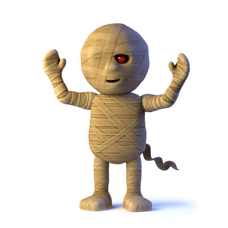 egyptian mummy: 3d render of an Egyptian mummy monster cheering with its arms in the air.