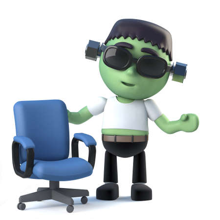 3d render of a cute Halloween frankenstein monster standing next to an empty office chair.