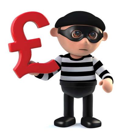 3d render of a burglar holding a UK Pounds Sterling currency symbol.