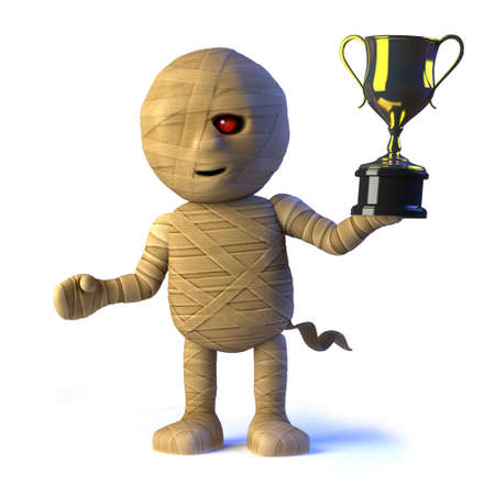 egyptian mummy: 3d render of an Egyptian mummy monster holding a gold cup trophy award.