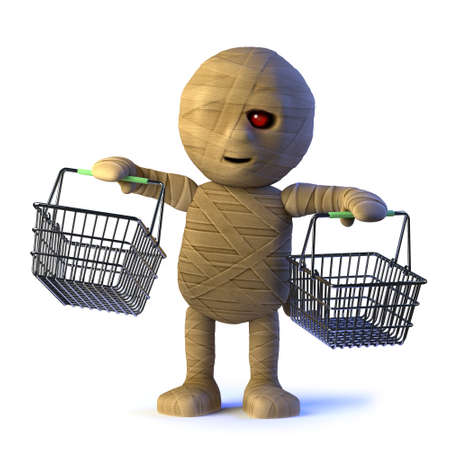 mummified: 3d render of a mummy monster holding up two shopping baskets.