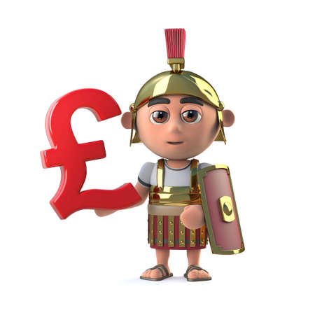 mercenary: 3d render of a cute Roman Soldier holding a UK Pounds Sterling currency symbol.