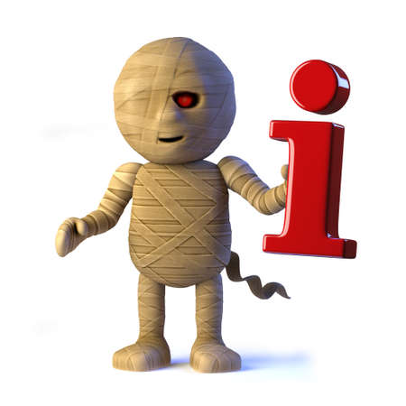 egyptian mummy: 3d render of a cool Egyptian mummy monster holding an information symbol.