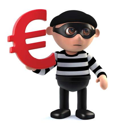 stalker: 3d render of a burglar holding a Euro currency symbol