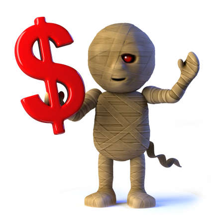 egyptian mummy: 3d render of an Egyptian mummy monster holding a US Dollar currency symbol.