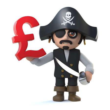 costume eye patch: 3d render of a pirate captain holding UK Pounds sterling currency symbol. Stock Photo