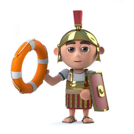 3d render of a cute Roman Centurion holding out a life preserver.